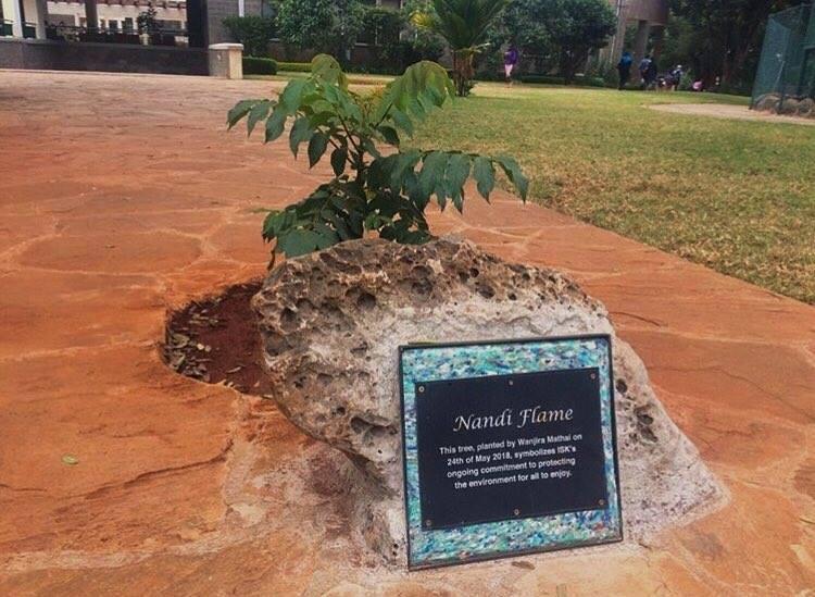 Sign created for Wangari Mathai memorial